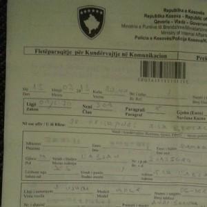 Strafzettel der Polizei des Kosovo