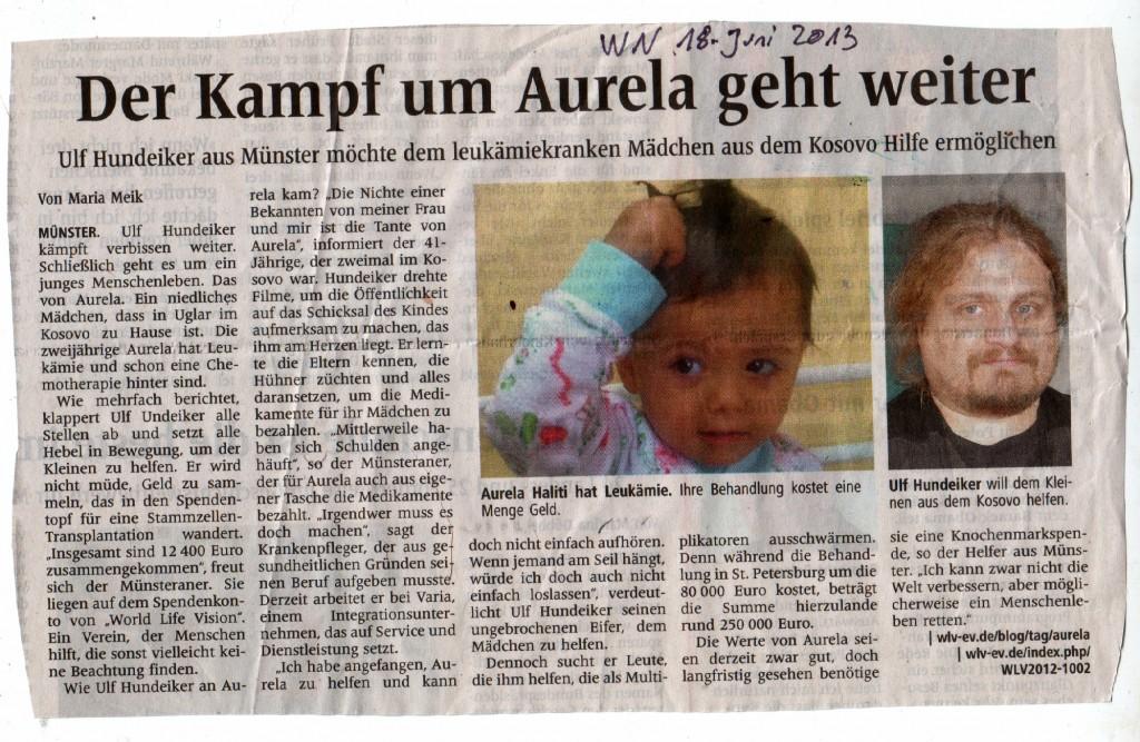 Artikel in den Westfälischen Nachrichten (Münster) vom 18. Juni 2013
